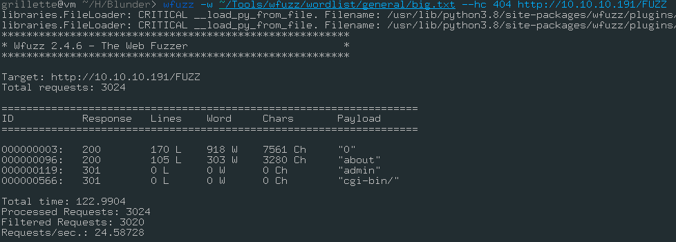 First directory fuzzing
